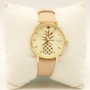 NWT KATE SPADE Pineapple Watch Beige Leather Band